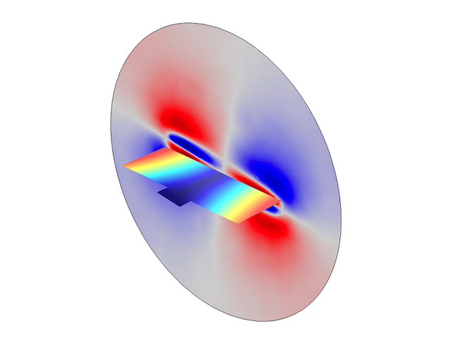 Simulation results for the micromirror displacement and pressure distribution.