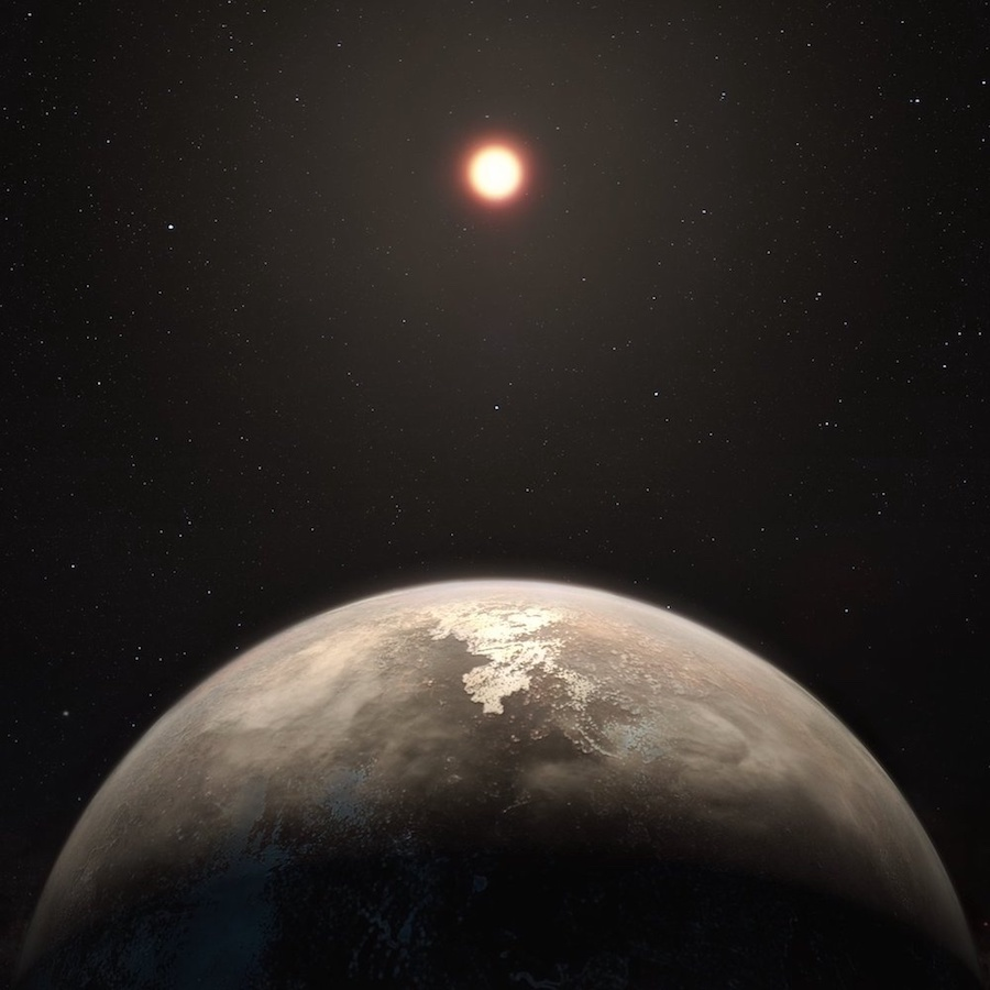 A visualization of exoplanet Ross 128 b.