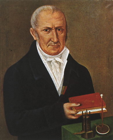 A painting of Alessandro Volta in the lab.