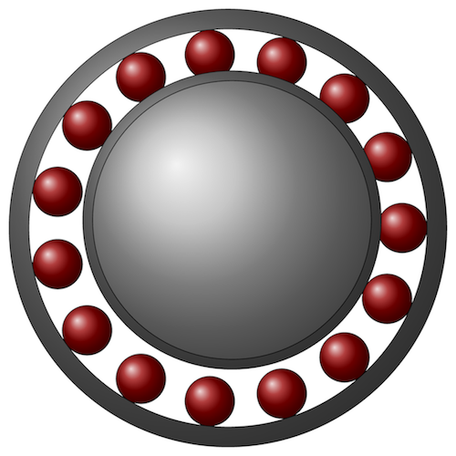 A schematic of a rolling element bearing.