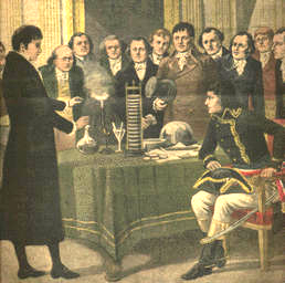An illustration of Volta showing Bonaparte his voltaic pile.