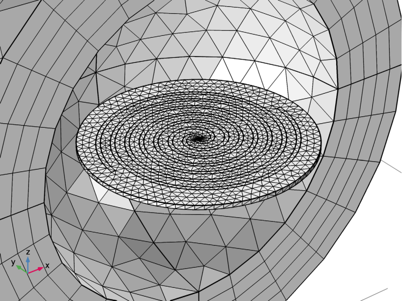 An image showing the mesh of the spiral slot antenna model.