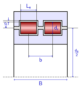 A sketch of a cylindrical roller bearing.
