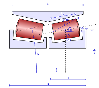 A sketch of a tapered roller bearing.
