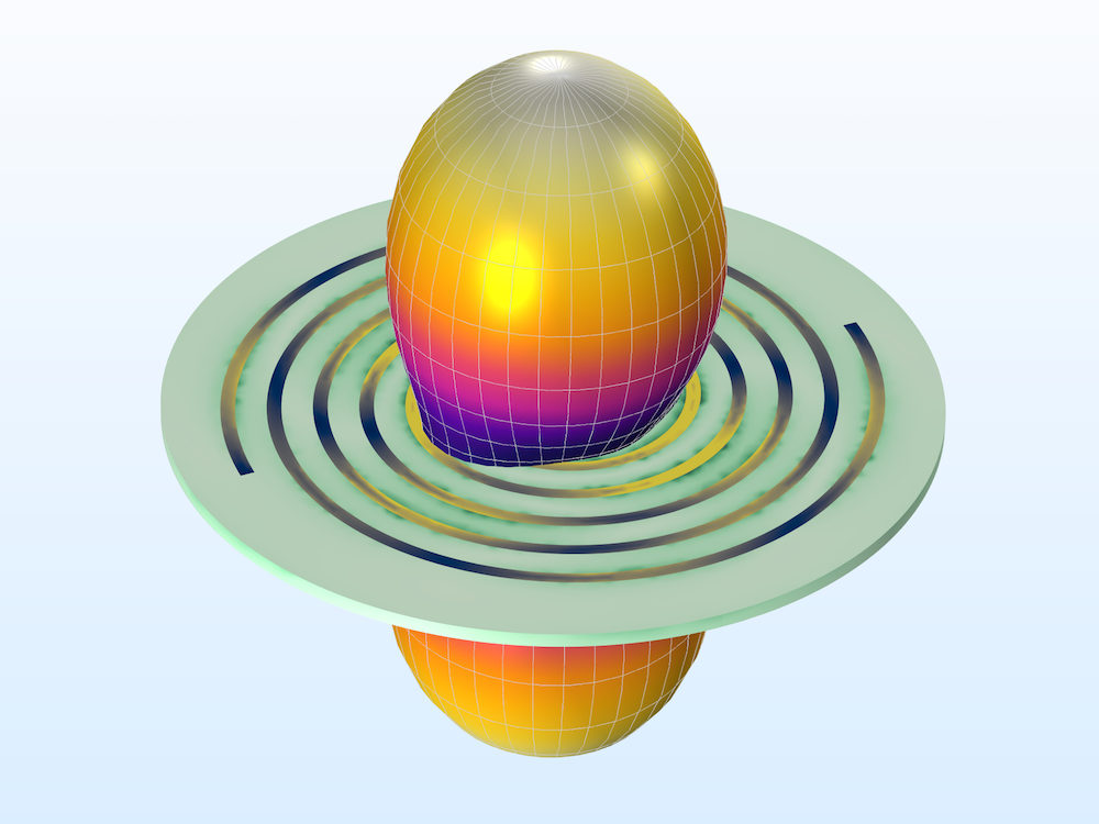 An image of the spiral slot antenna model in COMSOL Multiphysics®.