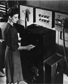 A photo of Frances Spence working on ENIAC.