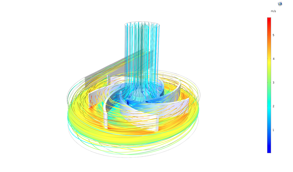 A model of the flow in a centrifugal pump solved using the algebraic multigrid solver in COMSOL Multiphysics.