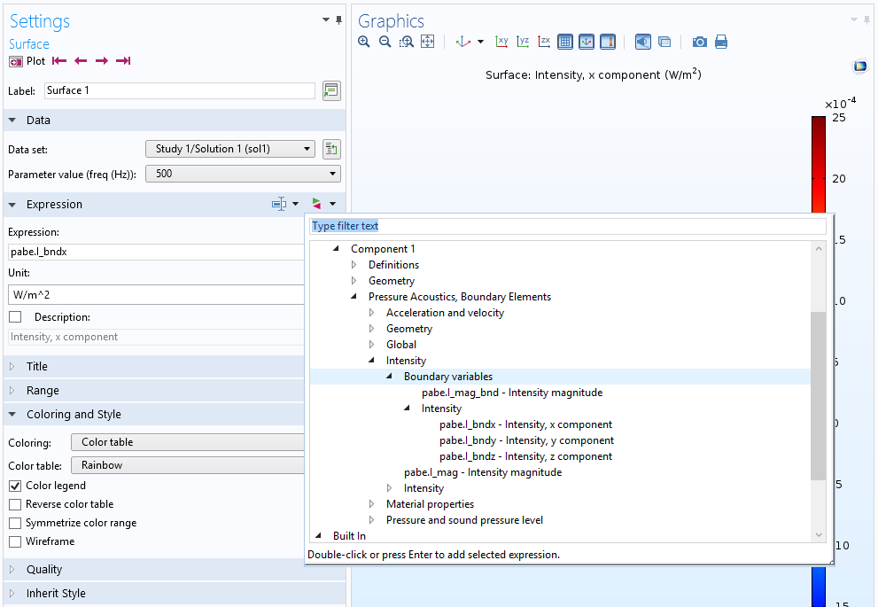 A screenshot showing the available postprocessing variables in the COMSOL® software for BEM.