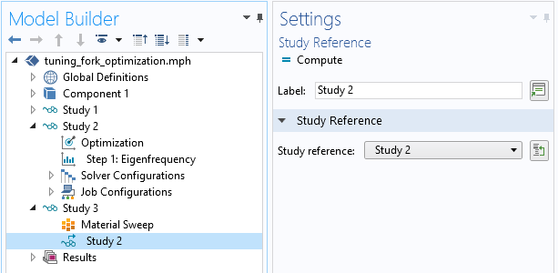 A cropped screenshot showing the settings for Study 2.