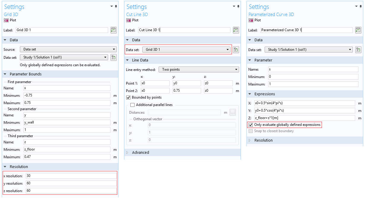 Three side-by-side screenshots of the Settings windows for different BEM data sets.