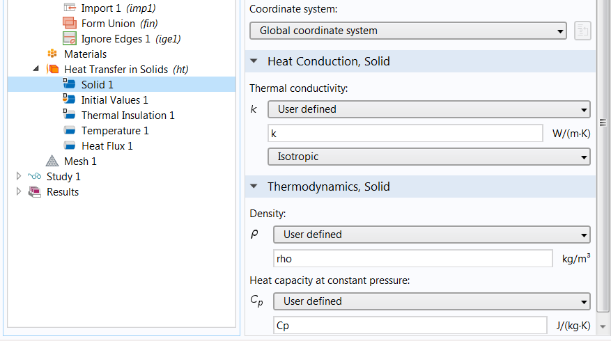 A screenshot of the Heat Transfer in Solids node in which the estimated material property is defined.