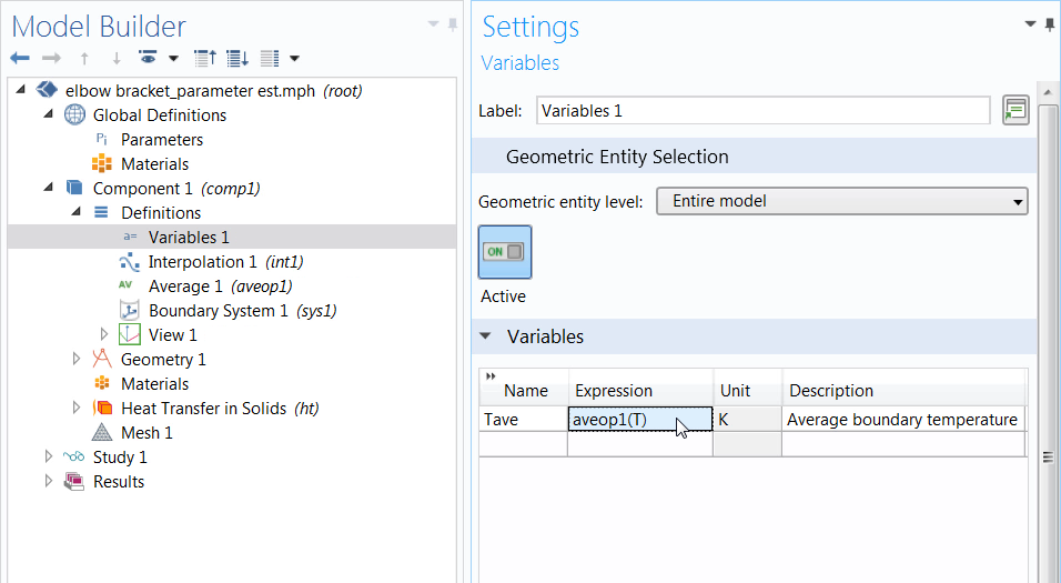 A screenshot of the Settings window for the defined variable used for parameter estimation.