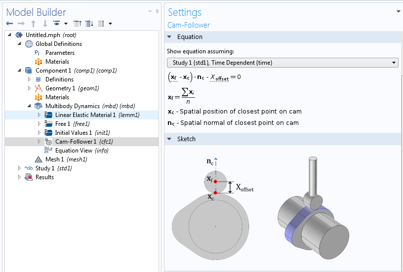 A screenshot showing the Cam-Follower feature settings in the COMSOL software.