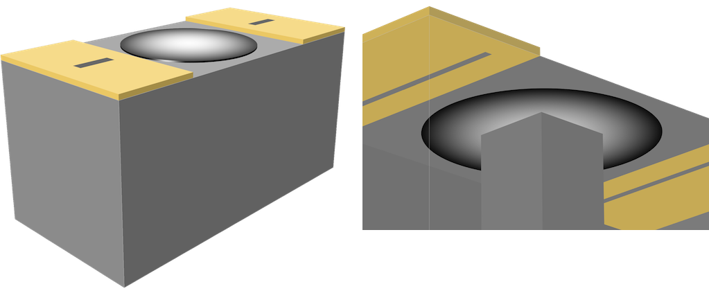 An image of a cavity filter with a piezoelectric actuator and an image showing the gap size between a piezoelectric actuator and a metallic post.