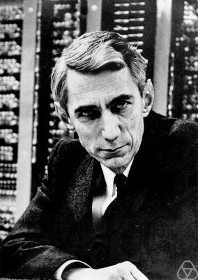 A black-and-white photo of Claude Shannon.