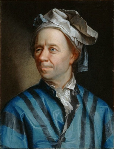 A painting of Leonhard Euler wearing a blue and black jacket.