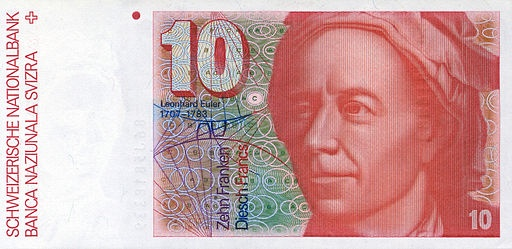 A photo of an old Swiss 10-franc banknote featuring Euler.