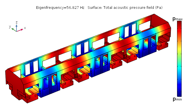 An image showing the room acoustics app of a subway car created at TUM.