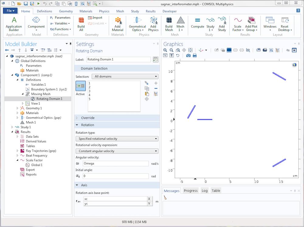 Снимок экрана графического интерфейса COMSOL Multiphysics с настройками опции Rotating Domain (Вращающаяся область).