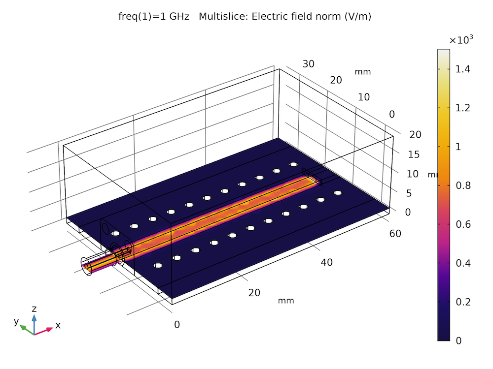 Simulation results showing the electric field norm in COMSOL Multiphysics®.