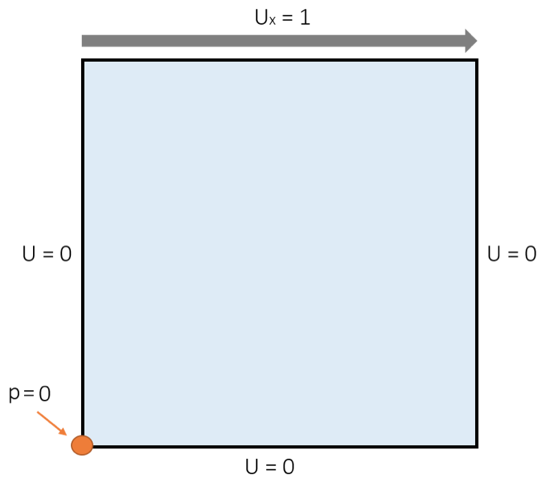 A schematic of the boundary conditions for the lid-driven cavity model.