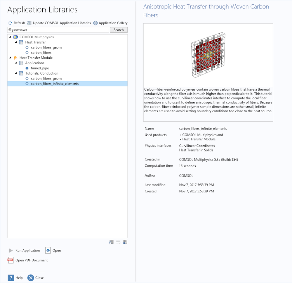 Снимок экрана с Библиотеками приложений после поиска моделей, содержащих геометрическую операцию Sweep.