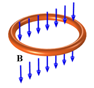 A schematic showing a copper loop exposed to a time-varying magnetic field.