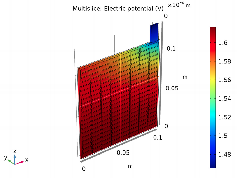 铅酸电池的板栅和极耳中的电势的模型。