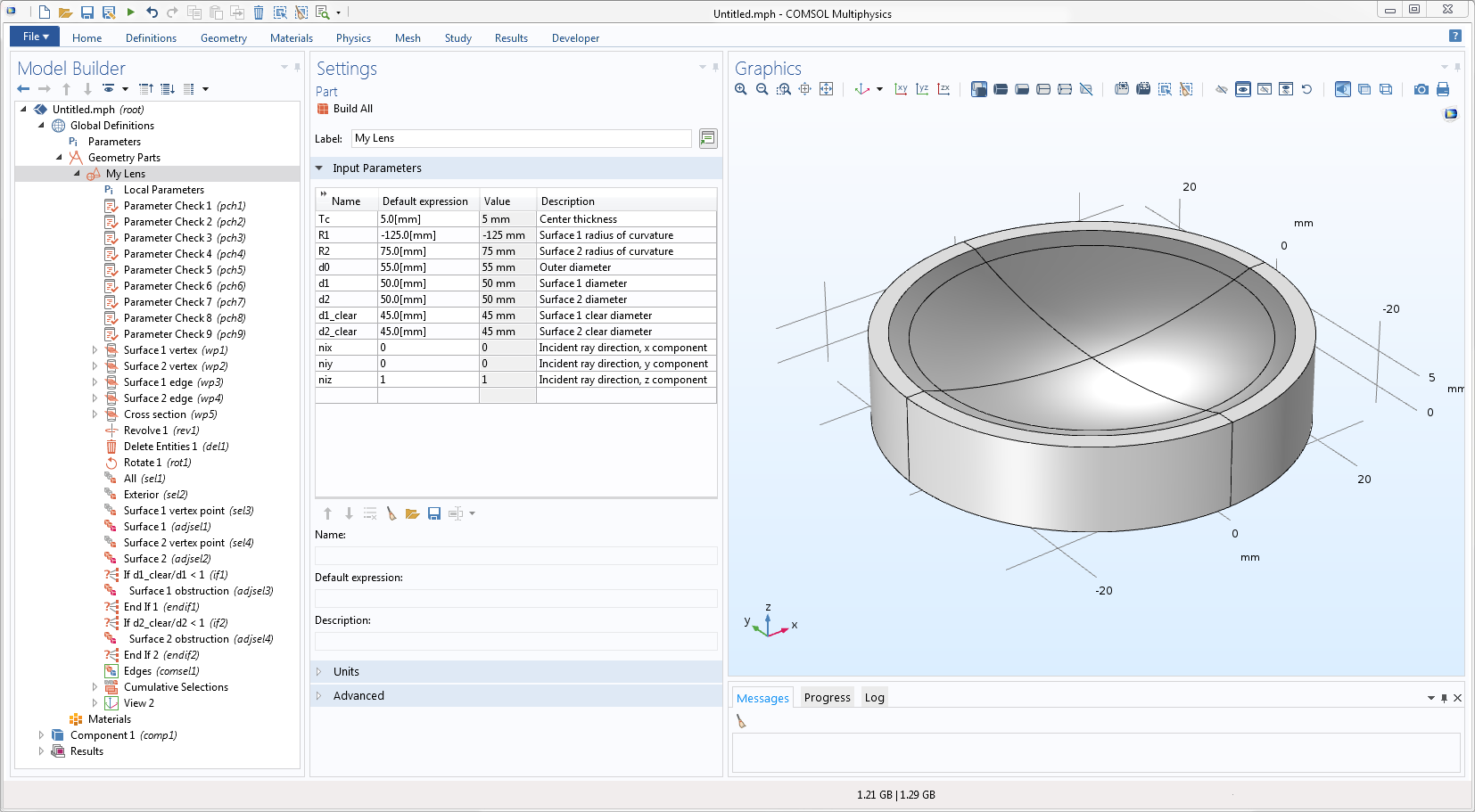 A screenshot of the COMSOL Multiphysics® GUI showing an example of a user-defined geometry part.