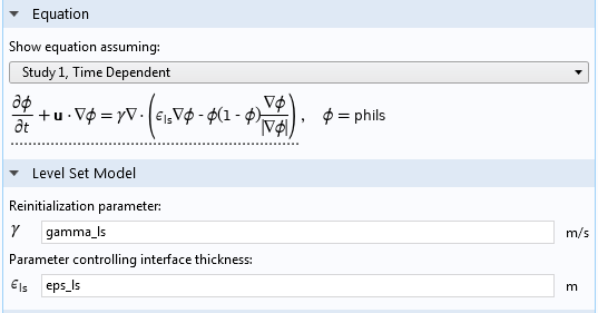 A screenshot of the Level Set interface settings in the COMSOL software.