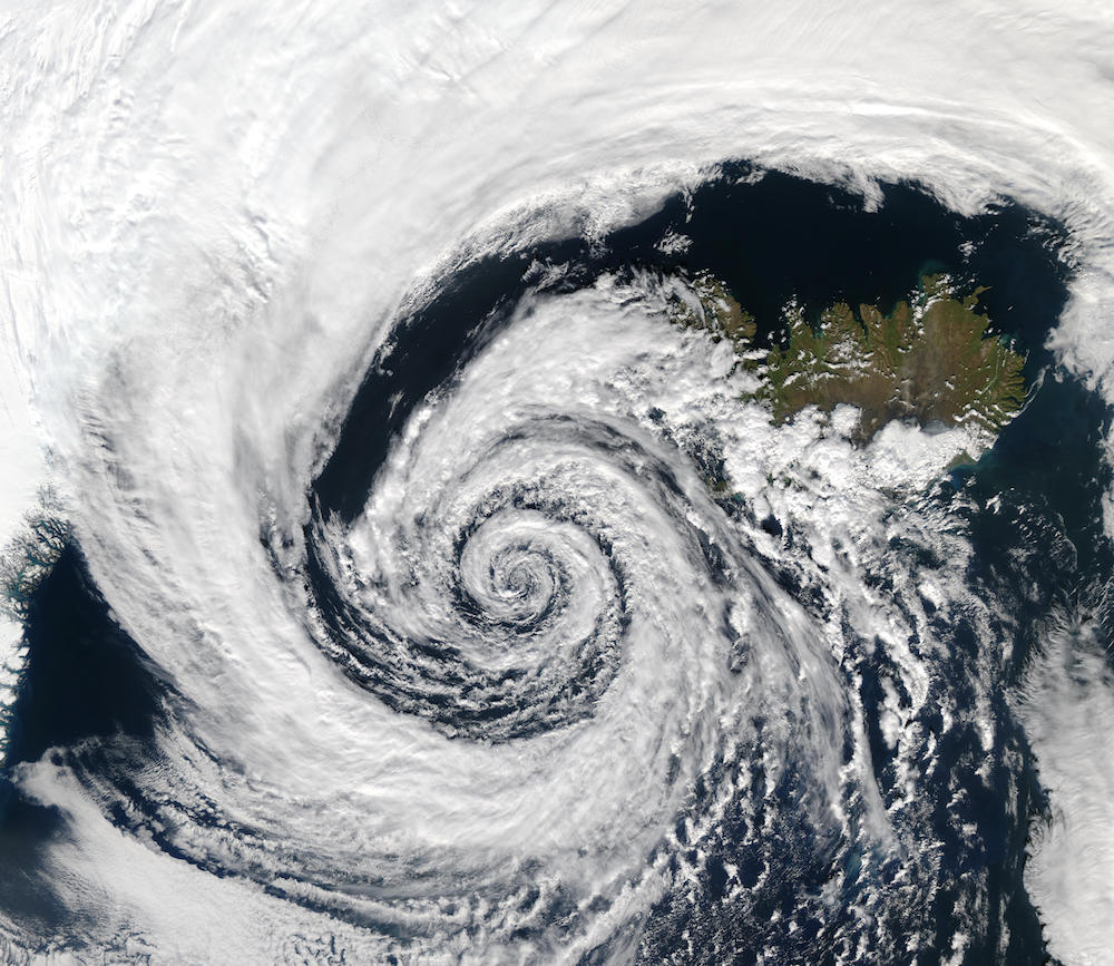A photo of the Coriolis force as demonstrated by a low-pressure system moving over Iceland.