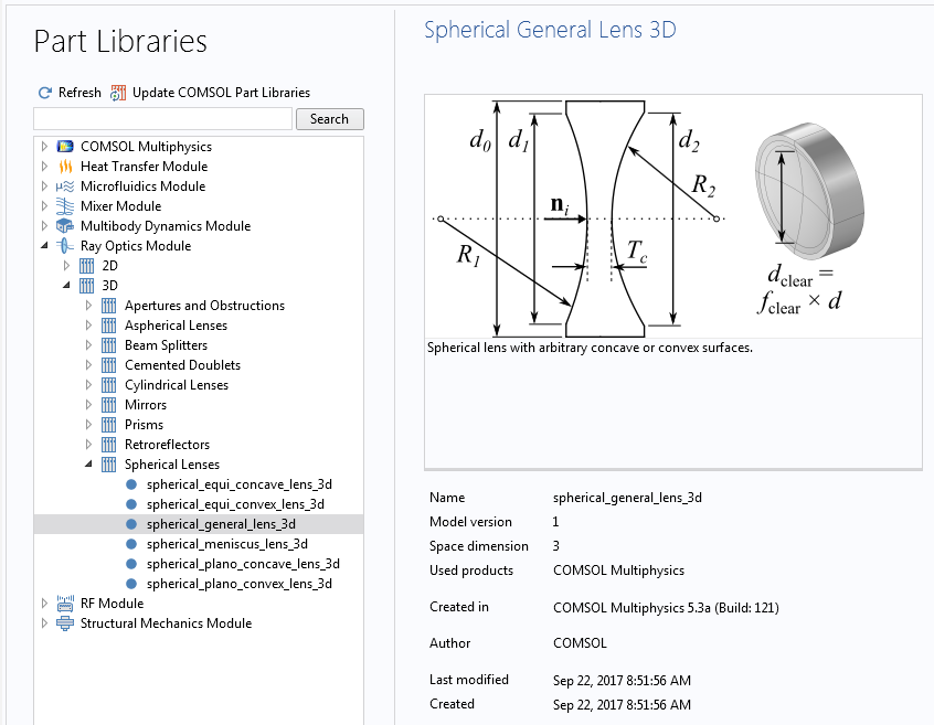 A screenshot of a Part Library window in COMSOL Multiphysics®.