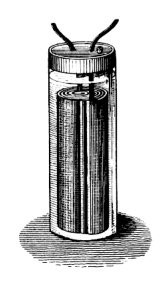A black-and-white sketch of Gaston Planté's lead-acid battery.
