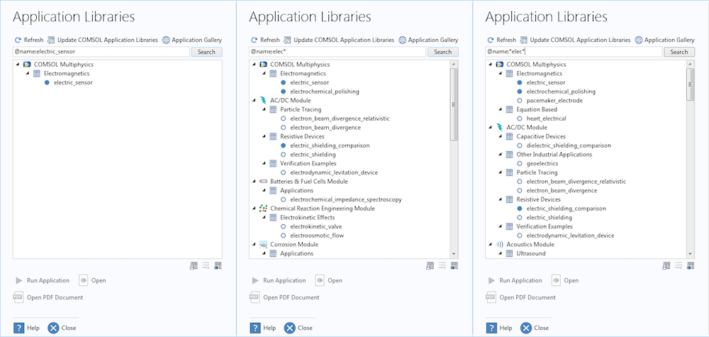 A collage of three screenshots of the Application Libraries to demonstrate how to search for a tutorial model.