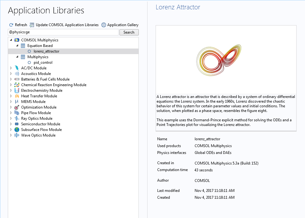 A screenshot of the Application Libraries after searching for models containing the Global ODEs and DAEs interface.