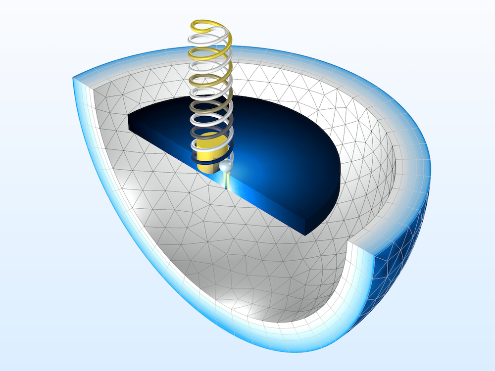 The geometry of a two-arm helical antenna modeled with the RF Module.