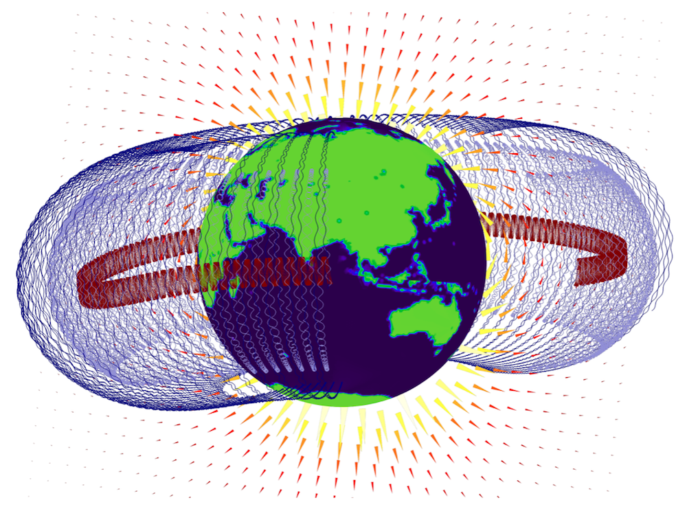 Simulation results showing the Van Allen belts around Earth over a long time period.