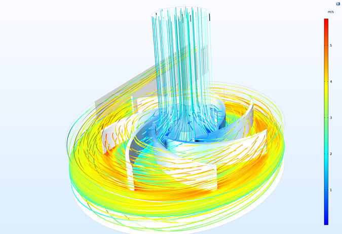 A complex centrifugal pump model solved with CFD software from COMSOL.