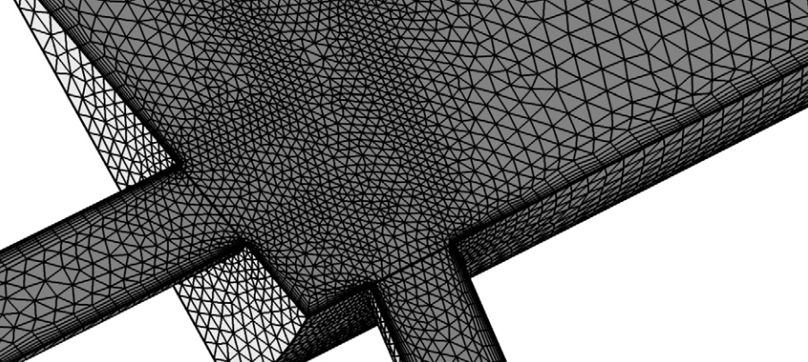 A close-up view of an extruded mesh.