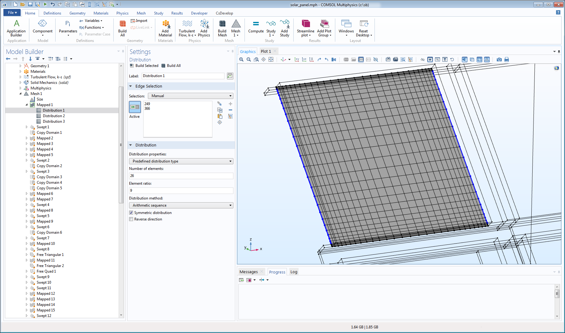 A solar panel model with a mapped mesh, shown in the COMSOL Multiphysics GUI.