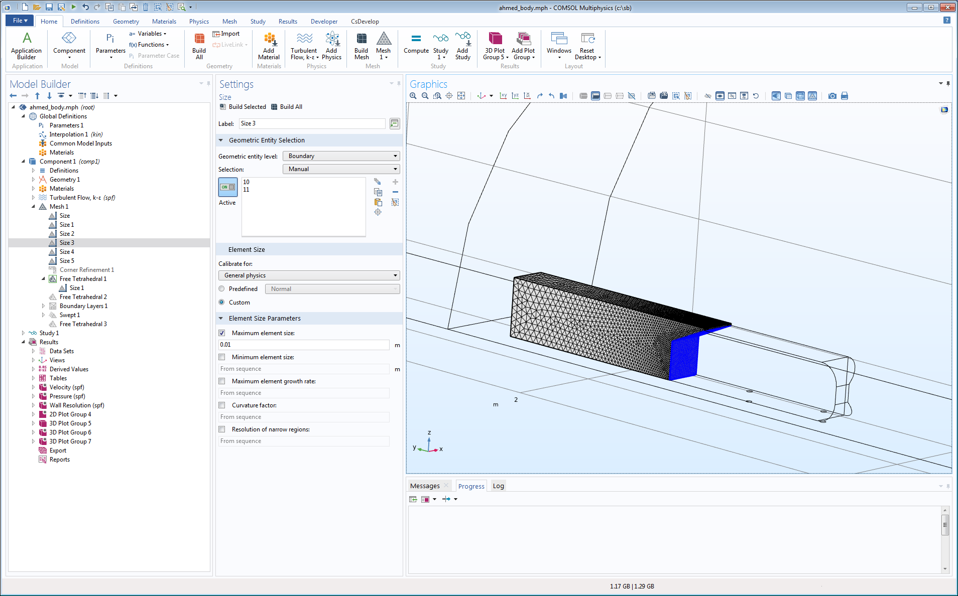 A meshed Ahmed body geometry, shown in the COMSOL Multiphysics GUI.