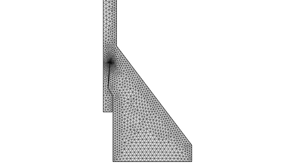 An example of a triangular mesh for a 2D axisymmetric model.
