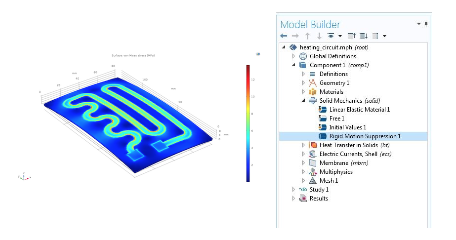 An example of using rigid motion suppression in a COMSOL model.