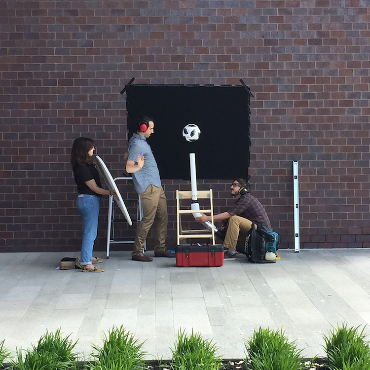 A photo of COMSOL's soccer ball experiment setup.