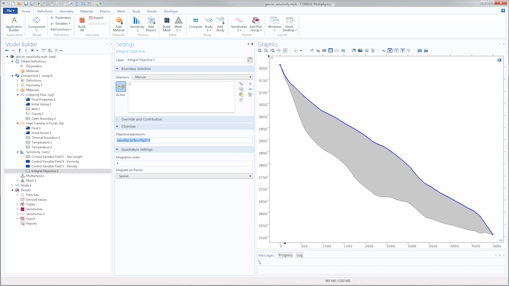 A screenshot of the COMSOL Multiphysics GUI with the Integral Objective settings shown.