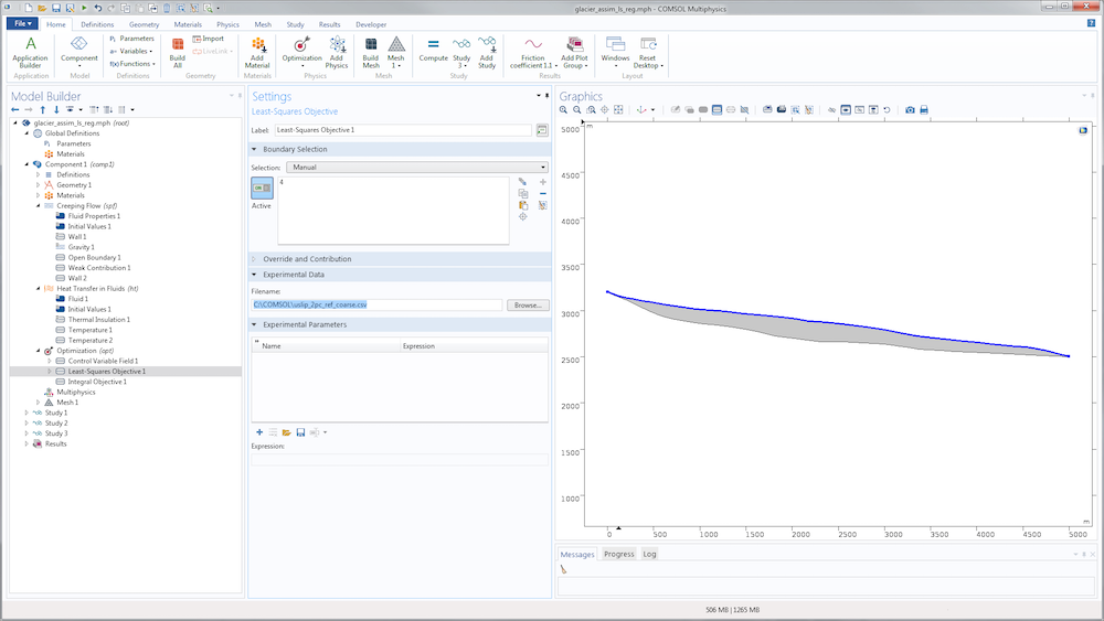 A screenshot of the COMSOL Multiphysics GUI with the Least-Squares Objective settings shown.