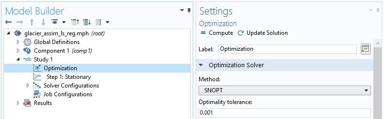 A screenshot of the Optimization settings for the SNOPT solver in COMSOL Multiphysics.