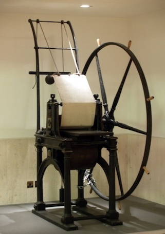 A photo of the Perkins printing press.