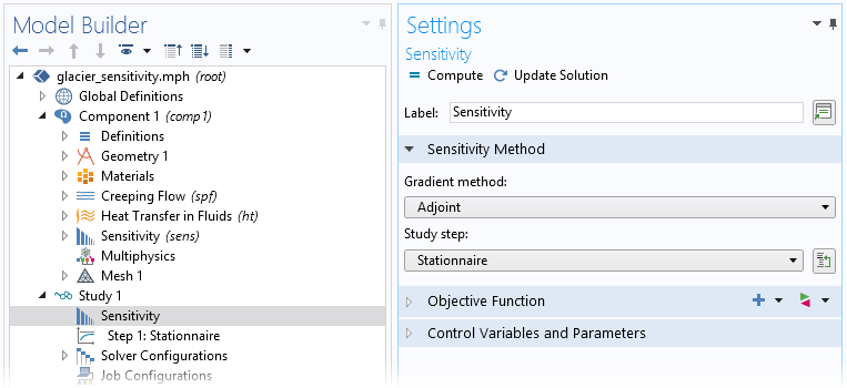 A screenshot of the Sensitivity settings in COMSOL Multiphysics.