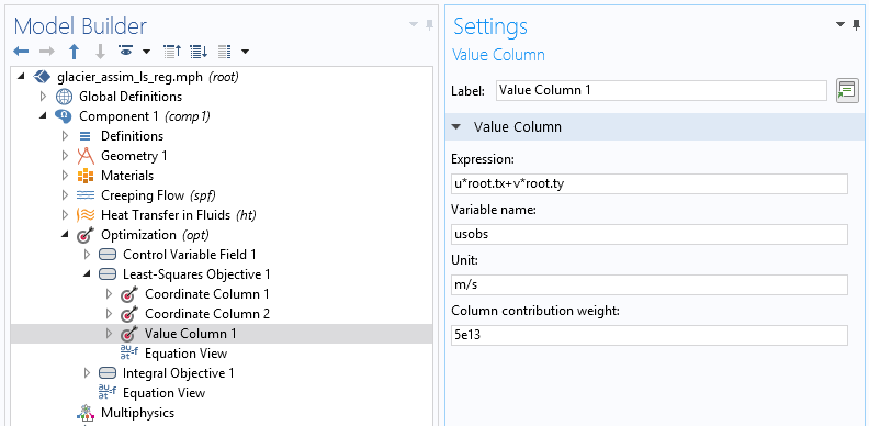 A screenshot of the Value Column settings in COMSOL Multiphysics.